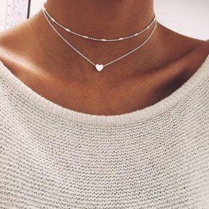 Layered Heart Choker Necklace (Silver)